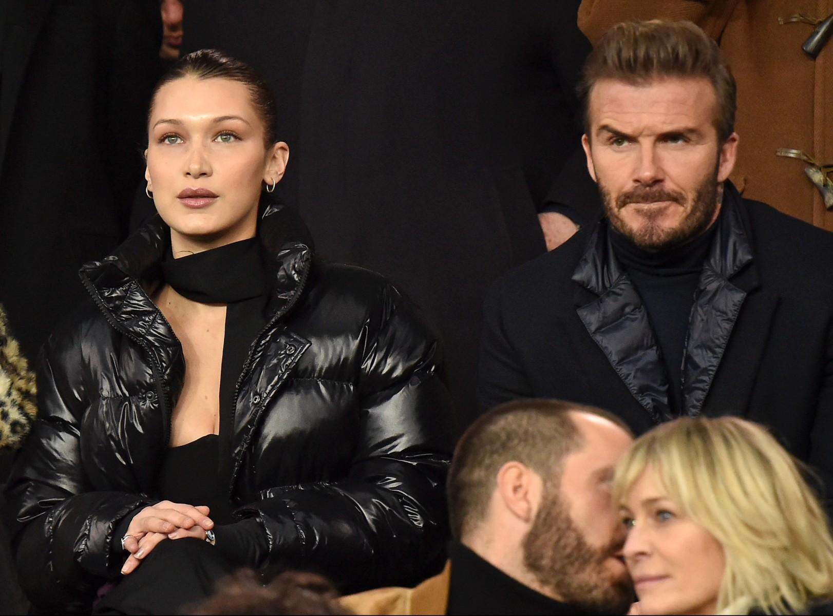 Gigi Hadids sister Bella has also been seen at PSG sitting next to David Beckham