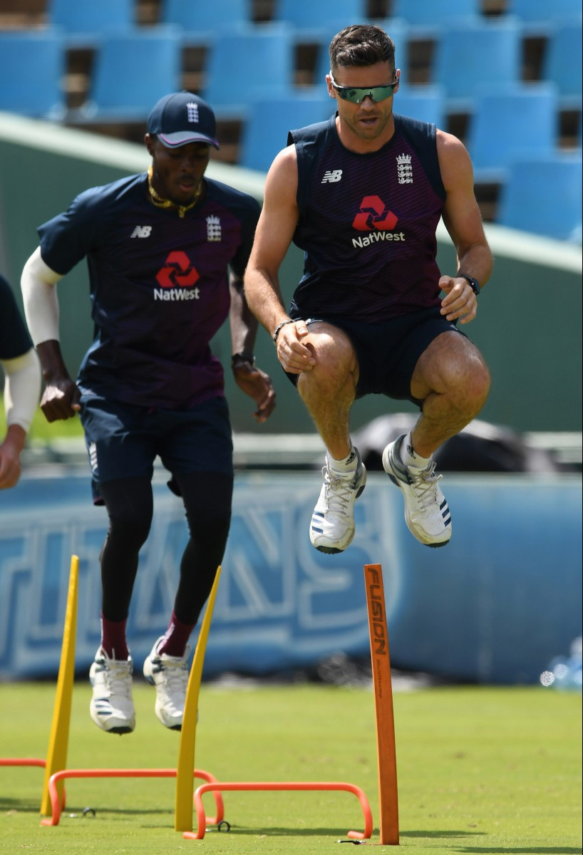 Jofra Archer, seen in training behind James Anderson, just needs small steps, not giant leaps, to potentially become a legend, according to Steve Harmison