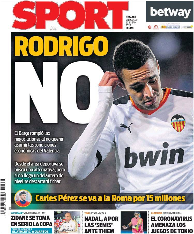 Sport believe Barcelona have dropped their interest in Rodrigo because they do not want to commit to signing him permanently