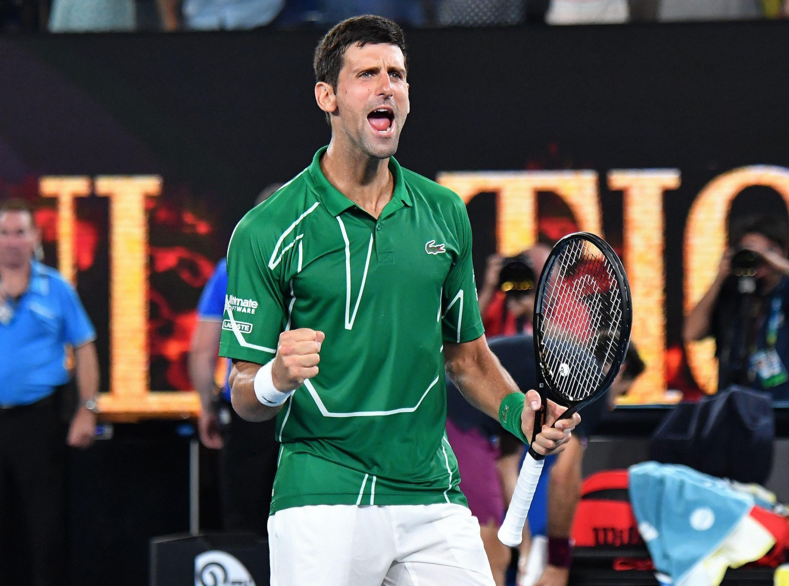 Novak Djokovic roared his way into the final but expressed his admiration for Roger Federer never giving up