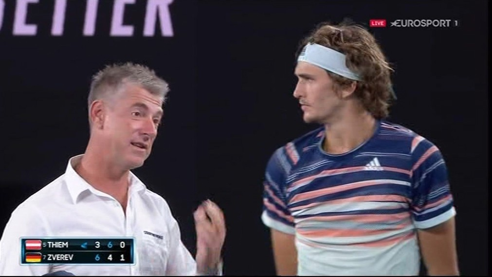 The chair umpire, tournament referee and CEO all came on to court during the break in play