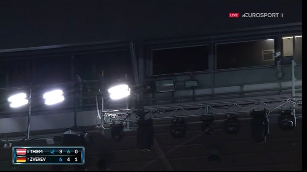 The game was interrupted when a light bulb blew in the Rod Laver Arena