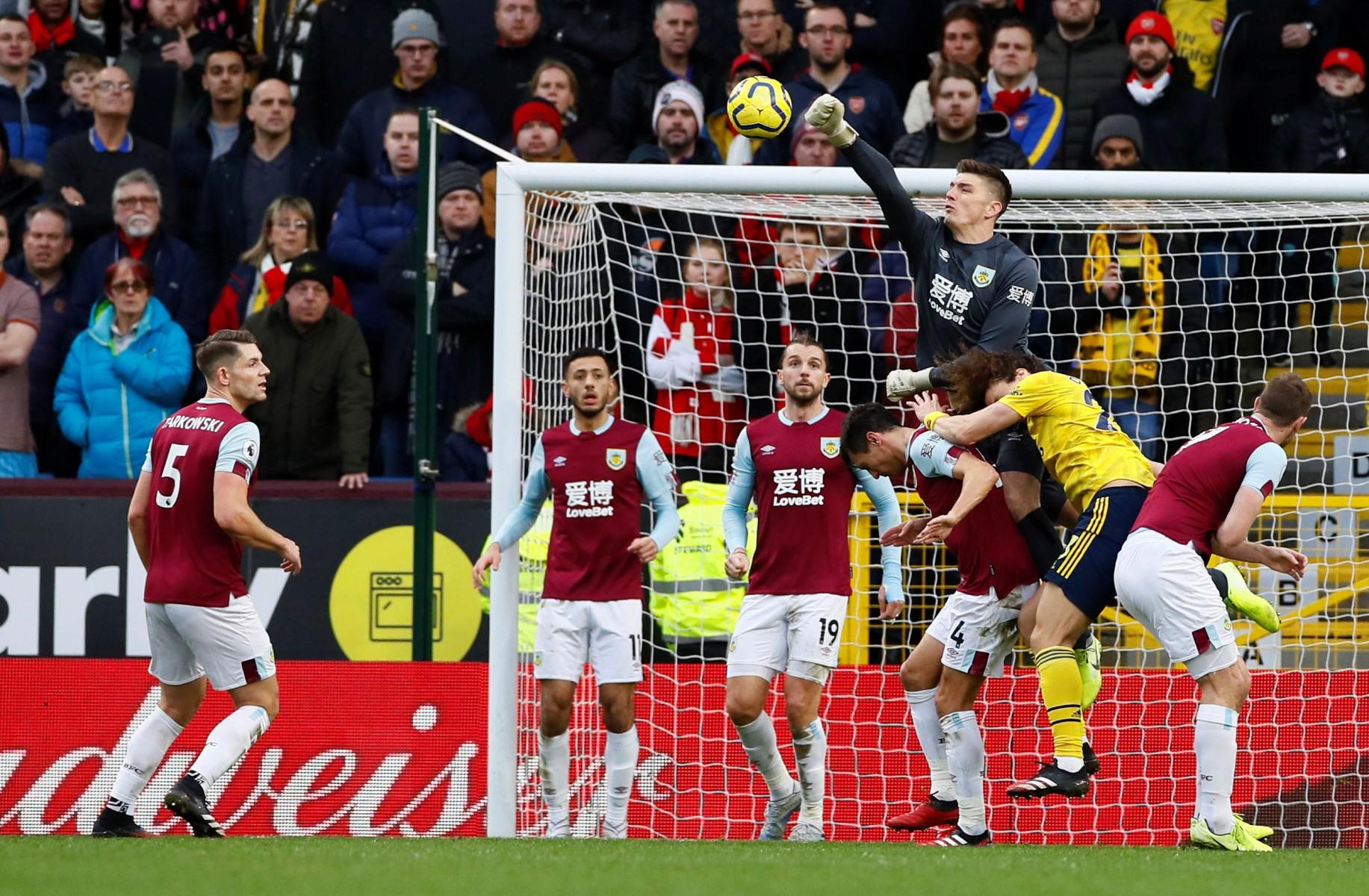 David Luiz felt the full force of Burnley goalkeeper Nick Pope, who handed on the Brazilian defender