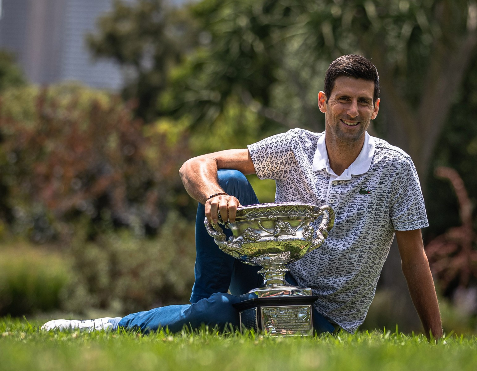 Djokovic posed with the Aussie Open crown for the eighth time after beating Dominic Thiem in Sunday's final