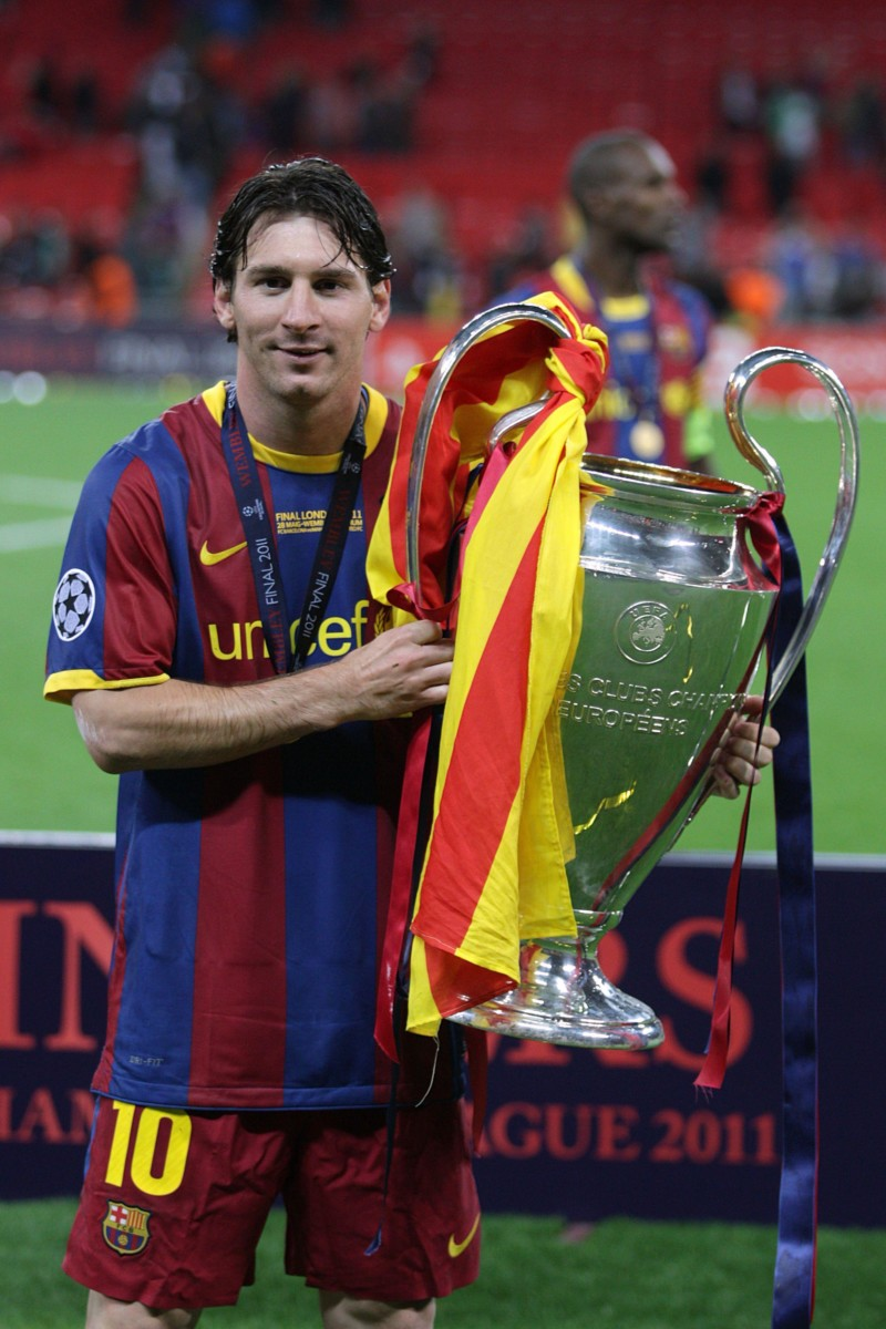 Lionel Messi with his third Champions League medal, won at Wembley in 2011