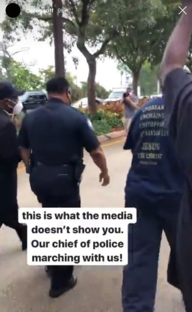 She added a video to her Instagram story of the chief of police joining the peaceful protest