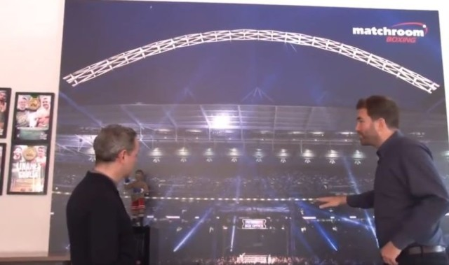 Artwork from the first Froch v Groves fight sits pride of place in Hearn's office