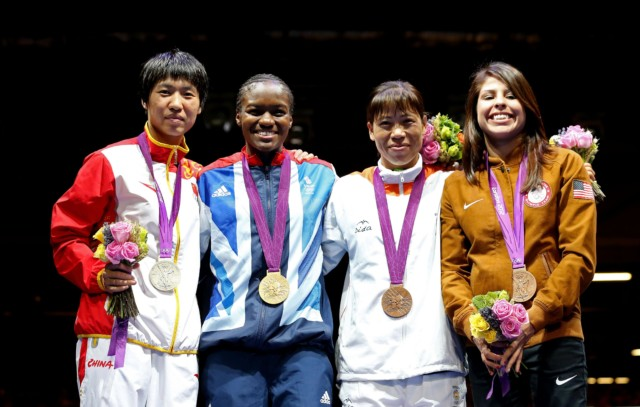 Nicola Adams, second left, and Marlen Esparza, right, both competed at the London 2012 Olympics
