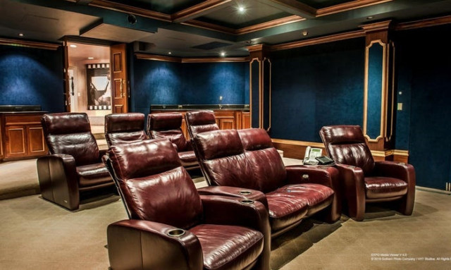 A cinema room adds to the lavish offerings this property has