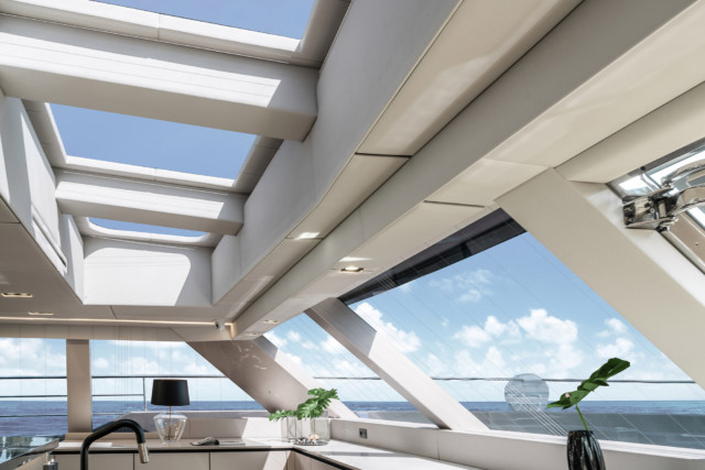 Natural skylight pours into the yacht
