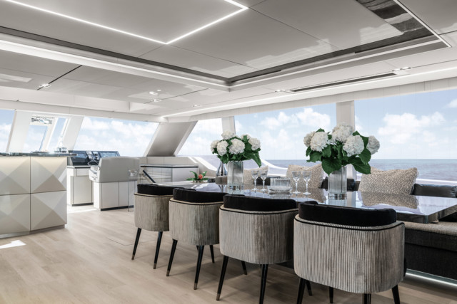 On the main deck theres a dining room area and bar