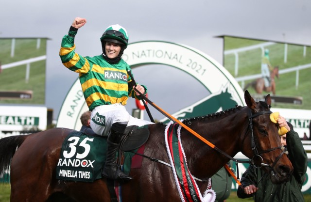 Blackmore celebrates winning the Grand National on Minella Times