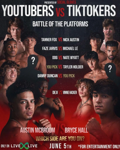 Youtubers Vs Tiktokers Boxing Fight Card Date Live Stream Tv Channel For Austin Mcbroom Vs Bryce Hall Plus Deji Stars Sporting Excitement