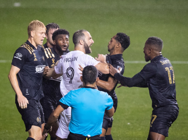 Gonzalo Higuain was involved in a fiery argument with Philadelphia Union players after missing his penalty